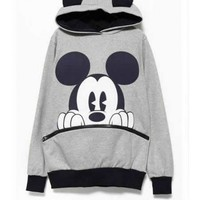 FREE SHIPPING Light Grey Cotton Printing Hoodies Outerwear M/L/XL from DressLoves