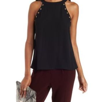 Chiffon Racer Front Tank with Gold Embellishment