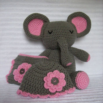 Baby Shower Gift Set, Crochet Elephant Stuffed Animal Plush, Newborn Diaper Cover, Girl Diaper Cover, Pink and Grey Diaper Cover