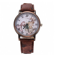 Womens Mens Vintage World Map Pattern Brown Leather Strap Band Watch