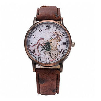 Vintage World Map Pattern Watch for Men Women Christmas Gift +Gift Box