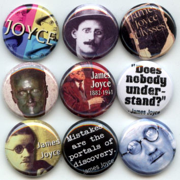 "JAMES JOYCE Irish novelist and poet 9 Pinback 1"" Buttons Badges Pins"