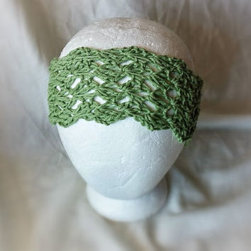 Soft green headband Crochet twist turban Yoga Cotton hair tie Teal Ladies head wrap Boho hippie style accessory