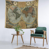 Vintage World Map Decor Home Decor Custom Printed Unique Dorm Decor Apartment Decor Trendy Wall Art Printed Wall Hanging Wall Tapestry