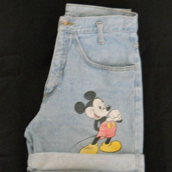 High Waisted Shorts / Vintage 90s Faded Distressed Blue Jean Denim with Disney Mickey Mouse Size 13 / 14 / 31