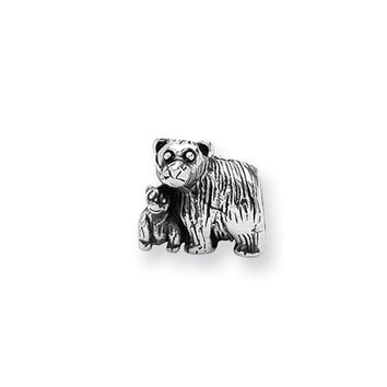 Sterling Silver Mama and Baby Bear Bead Charm
