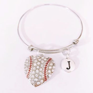 Adjustable Bangle Charm Bracelet Initial Baseball Softball Sports Mom Gift