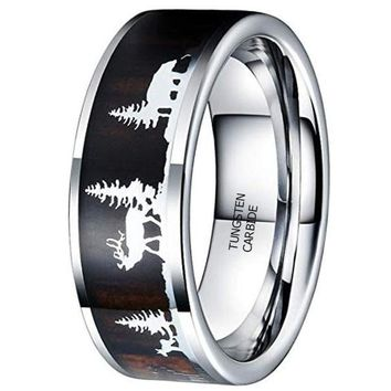 CERTIFIED 8MM Nature Tungsten Carbide Wedding Ring Christmas Pattern Wood Inlaid
