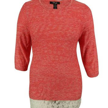 Style & Co. Women's Lace Trim Knit Sweater