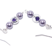 Lavender purple violet Swarovski crystal pearl drop earring dangle, Sterling silver French hook earing, Silver plated ring bead, Ear ring
