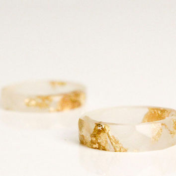 pale rose and gold size 3 thin multifaceted eco resin ring