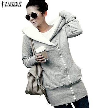 ZANZEA 2017 Oversized Women Hoodies Overcoat Winter Hooded Thick Padded Fleece Fur Coat Zip Outerwear Sweatshirt Jacket Parka