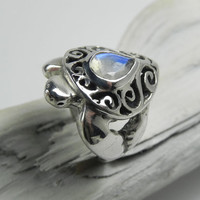 Turtle Ring - Sea Turtle Moonstone Ring - Sterling Silver Rainbow Moonstone - Unique Sea Turtle Jewelry - Ocean Inspired - Sea Life