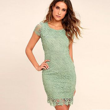 Lace Short Sleeves Pure Color Backless Short Party Dress