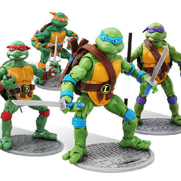18cm TMNT teenage mutant ninja turtles figures set anime baby toys 2016 New TMNT Tees 1988 Leonardo neca revoltech figurines hwd 80's