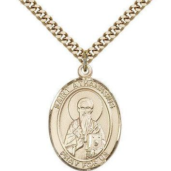 "Saint Athanasius Medal For Men - Gold Filled Necklace On 24"" Chain - 30 Day M... 617759595338"
