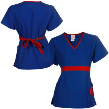 Chicago Cubs Womens MLB Solid Wrap Scrub Top with Pockets - Royal Blue