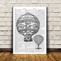 Steampunk print Balloon poster Modern decor Antique art RTA52