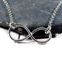 Sterling Sillver Infinity Chain Necklace. Promise Eternity Necklace. Dainty Silver Sideways Infinity Necklace. Mothers Day.Jewelry GSminimal