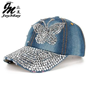High quality JoyMay Hat Cap Fashion Leisure Cross Cap Rhinestones butterfly Jean Cotton CAPS Baseball Cap B216