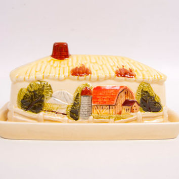Vintage Covered Butter Dish Farm House Barn Yard Scene Made in Japan Country Home Decor