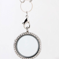 Floating Locket with Rhinestones Necklace