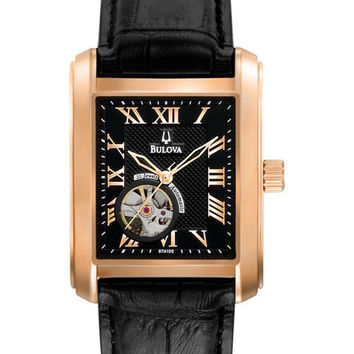 Bulova 97A105 Men's Automatic Rose Gold Open Heart Black Dial Watch