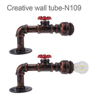 Retro Steam Punk Style Iron Rust Water Pipe Wall Lamp Home Light Decal Lamp steampunk house lighting fixtures AC 100-240V