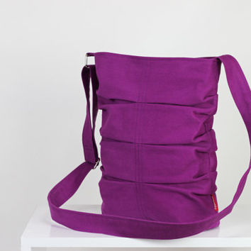 Purple Small Canvas Tote Bag Cross body and Shoulder Use Washable Zipper Closure  Novelty bag vibrant color