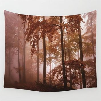 Sun Set Autumn Forest Wall Tapestry