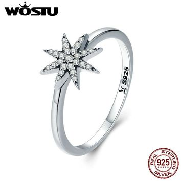 WOSTU Authentic 925 Sterling Silver Sparkling Star Finger Ring for Women Luxury Brand Wedding Jewelry Gift For Girlfriend CQR315