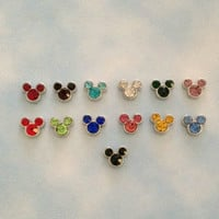 Floating charm birthstone Mickey Mouse ears for memory living locket