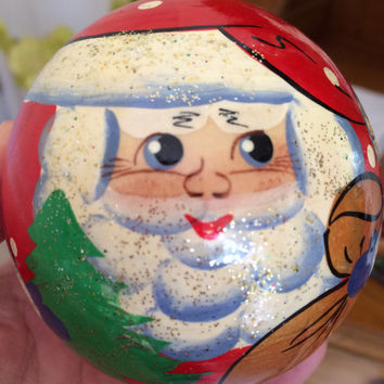 Santa Roly Poly Bell matreshka traditional russian nesting doll curved painted hand woodcollect souvenir holiday birthday gift decorative