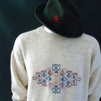 SALE Mens Vintage Nordic Sweater Alpaca Wool Blend Beige Crewneck XL / 52 EU Him Leisure