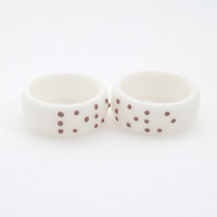 White Porcelain Simple Ring Band Personalized Dots Love Braille