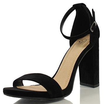 Delicious Womens Shiner Open Toe Ankle Strap Chunky Block Heel