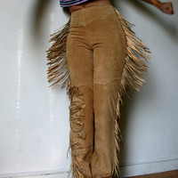 Beautiful Danier Tan Suede Fringe Pants