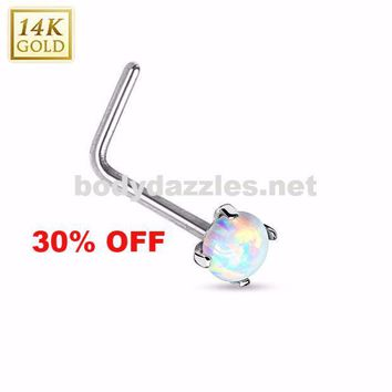 14 Karat White Gold L Bend Nose Ring with Prong Set Opal Nose Stud Body Jewelry 20ga