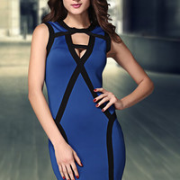 Blue Sleeveless Bandage Mini Dress in Round Neckline