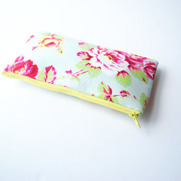 Floral zipper pouch, yellow pencil case, makeup brush pouch, beautiful coin purse, great gift idea, sunglass case, purse organizer