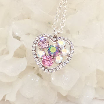 SWAROVSKI CRYSTAL HEART pendant, long chain, adjustable, pink heart, designer inspired, halo crystal, stunning