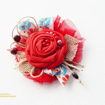 Original gift. Crochet Flower Brooch With Glass Pearls. Wedding Brooch.