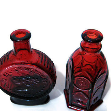Vintage Wheaton Miniature Collectors Bottles Red Glass