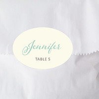 Wedding Place Card Stickers, Escort Cards, Printed Ivory & Mint, Oval Favor Labels, Placecard Placement Names, Many Other Colors - Set of 15