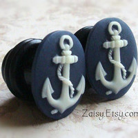 Anchor Cameo Plugs for Gauged Ears Sizes 00g, 0G, 2G, 4G , 6G, 4mm, 5mm, 6mm, 8mm, 10mm, Also Available For Pierced Ears