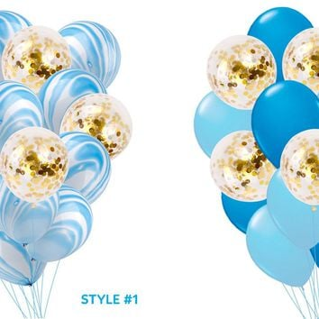BLUE GOLD BALLOONS-Baby Blue Marble Confetti Balloons Bouquet, Mix Blue Balloons, Boys Baby Shower Balloon, Boys Birthday Party Balloons,