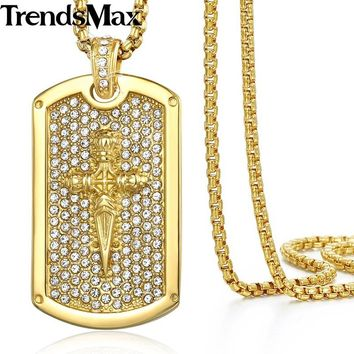 Hip Hop Iced Out Bling Full Rhinestone Cross Tag Men's Pendant Necklaces Gold Stainless Steel Chain for Men Sports Jewelry KN551