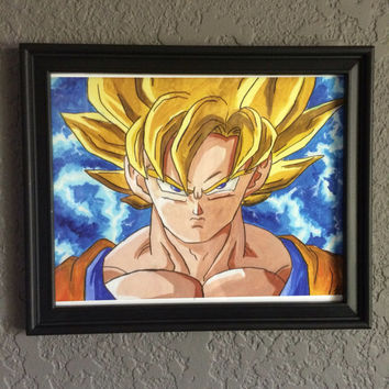 Goku 9x12 Acrylic Painting 8x10 Art Print Dragon Ball Z Dragon Ball Super Anime Fan Art Wall Art Super Saiyan (2 sizes available)