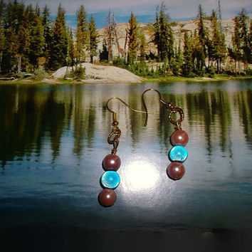 BOHO Chic Pink and Blue Dangle Bead Earrings Fish Hook Style Drop Fun Handmade Gift For Her