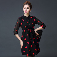 Red Lips Print Lined Dress